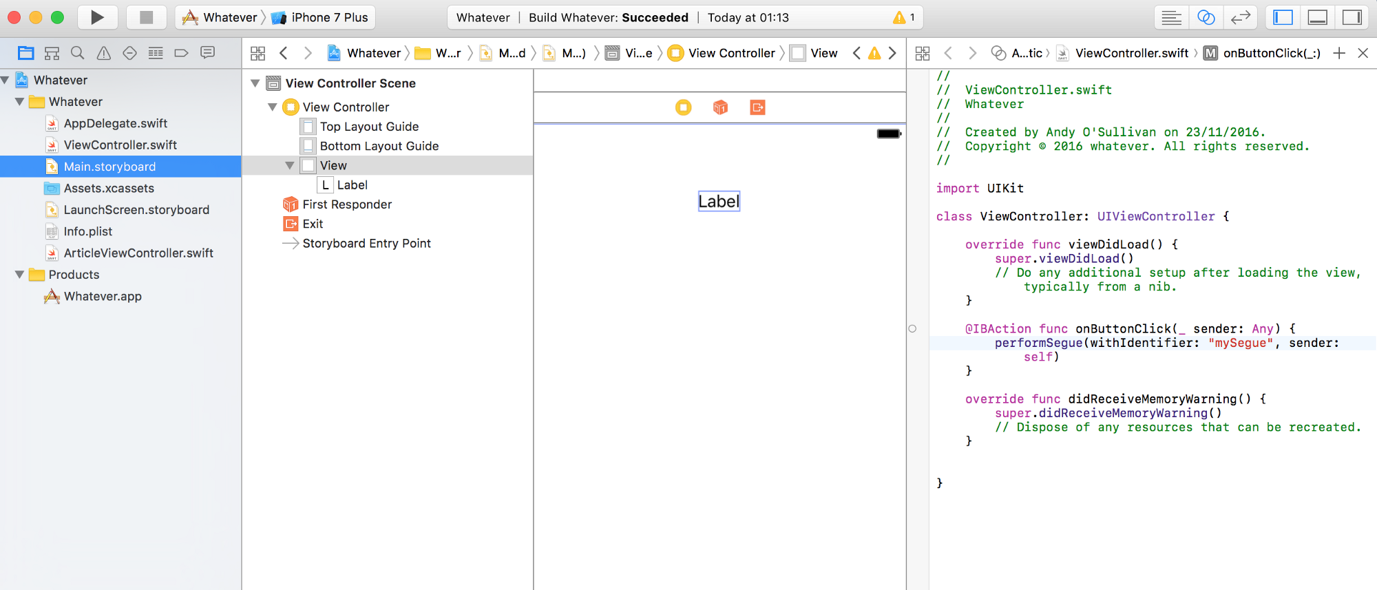 Beginners Guide To Xcode Ios 2 Appsandbiscuits How Build Whistle Responder View Storyboard And Code At Same Time