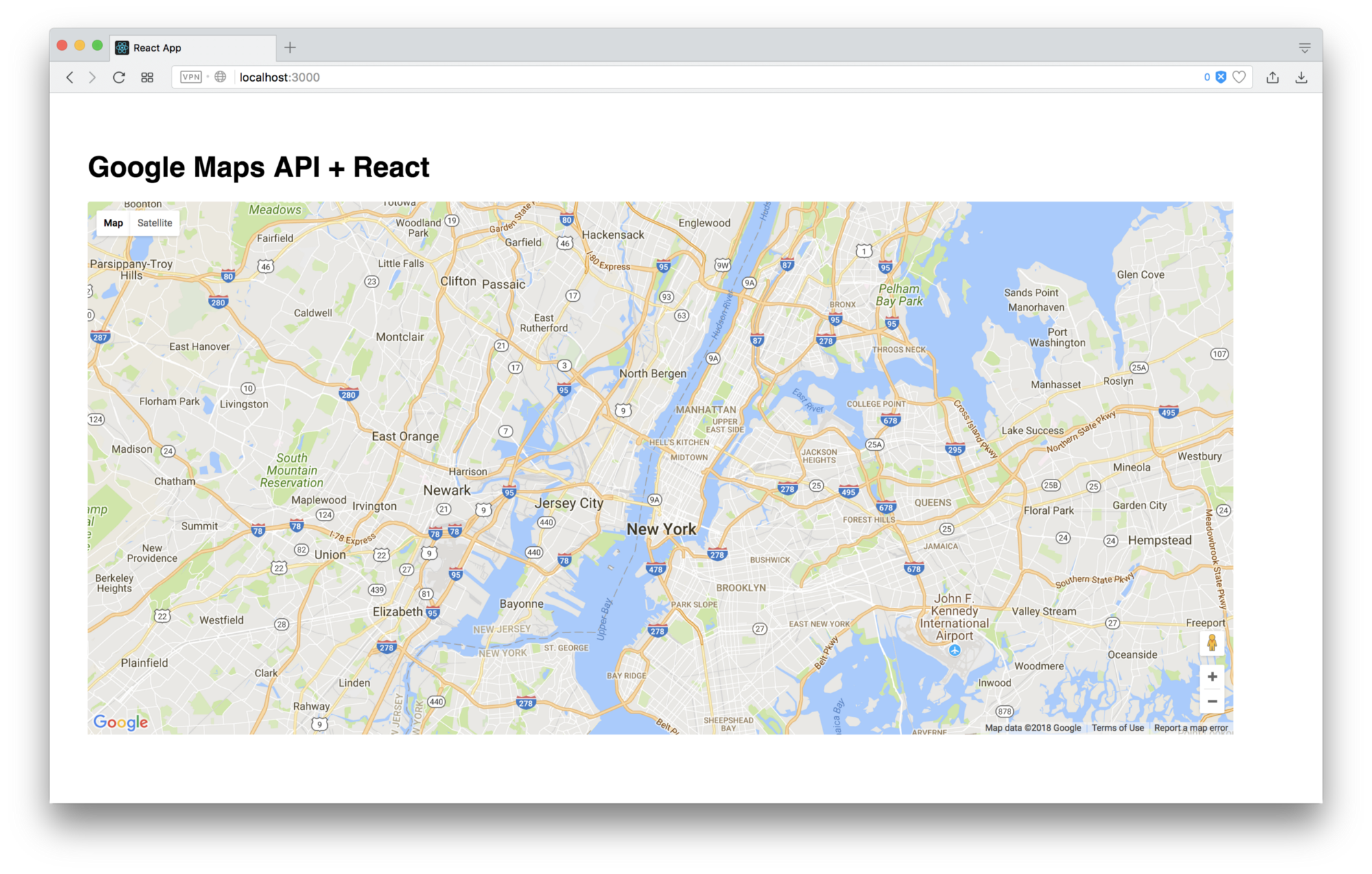your new google map in a react component