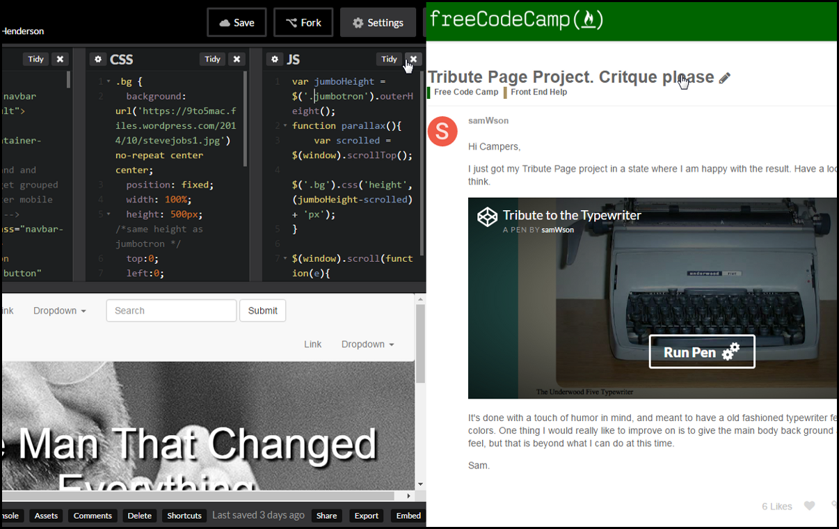 Codepen Tips And Best Practice Freecodecamporg