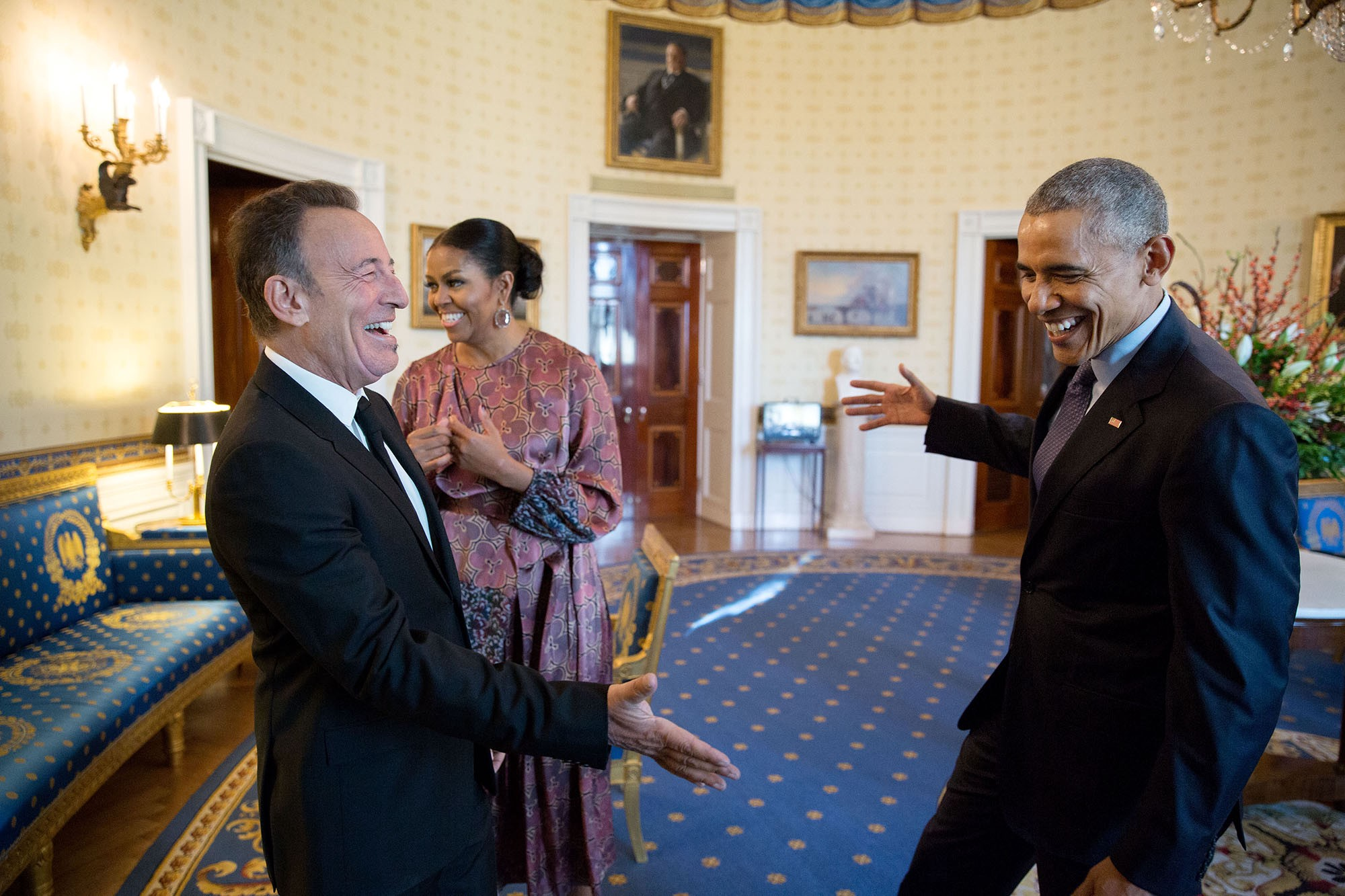 "Nov. 22, 2016 ""Bruuuuuce! The President reaches out to shake hands with Bruce Springsteen in the Blue Room of the White House prior to the Presidential Medal of Freedom ceremony. I'm so happy for Bruce, having been a fan of his for almost 30 years during which I've seen at least 35 of his concerts."" (Official White House Photo by Pete Souza)"