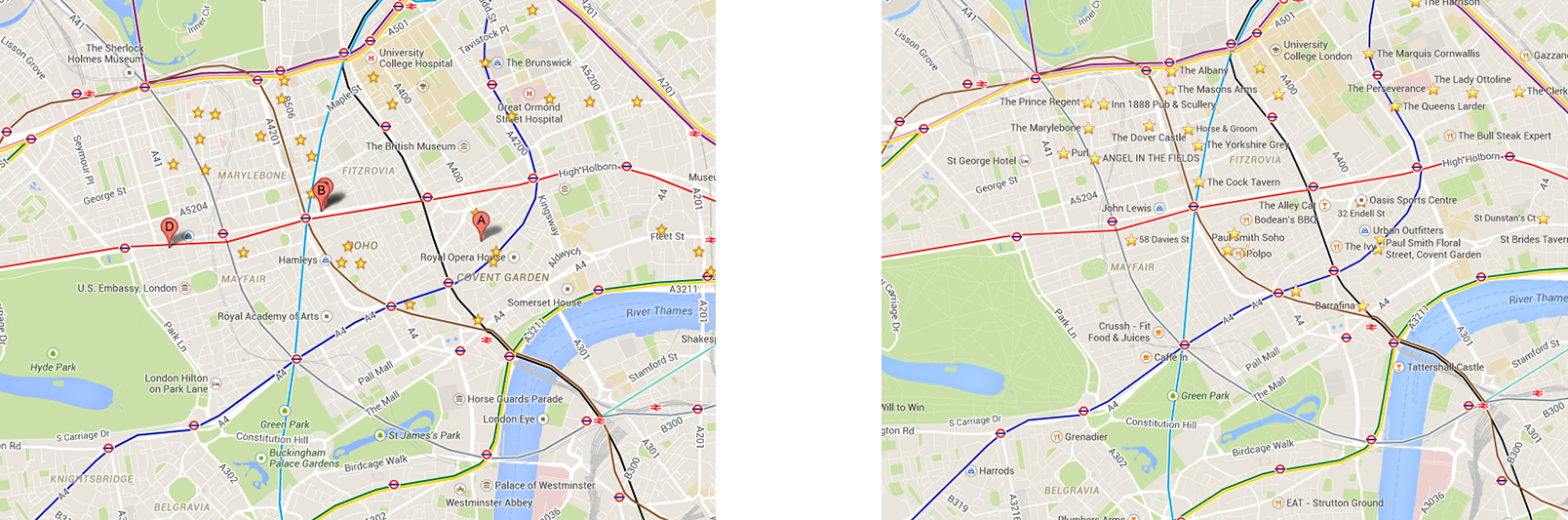 public transport overlay in classic (left) and not possible in new (right).  things i hate about 'new' google maps – andrew burton – medium