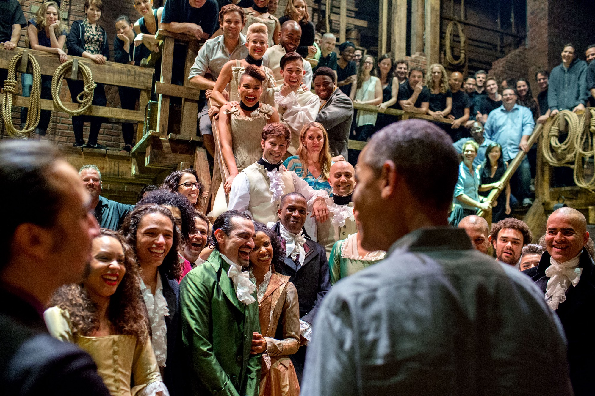 "July 18, 2015 ""The President greets the cast and crew of 'Hamilton' after seeing the play with his daughters at the Richard Rodgers Theatre in New York City."" (Official White House Photo by Pete Souza)"