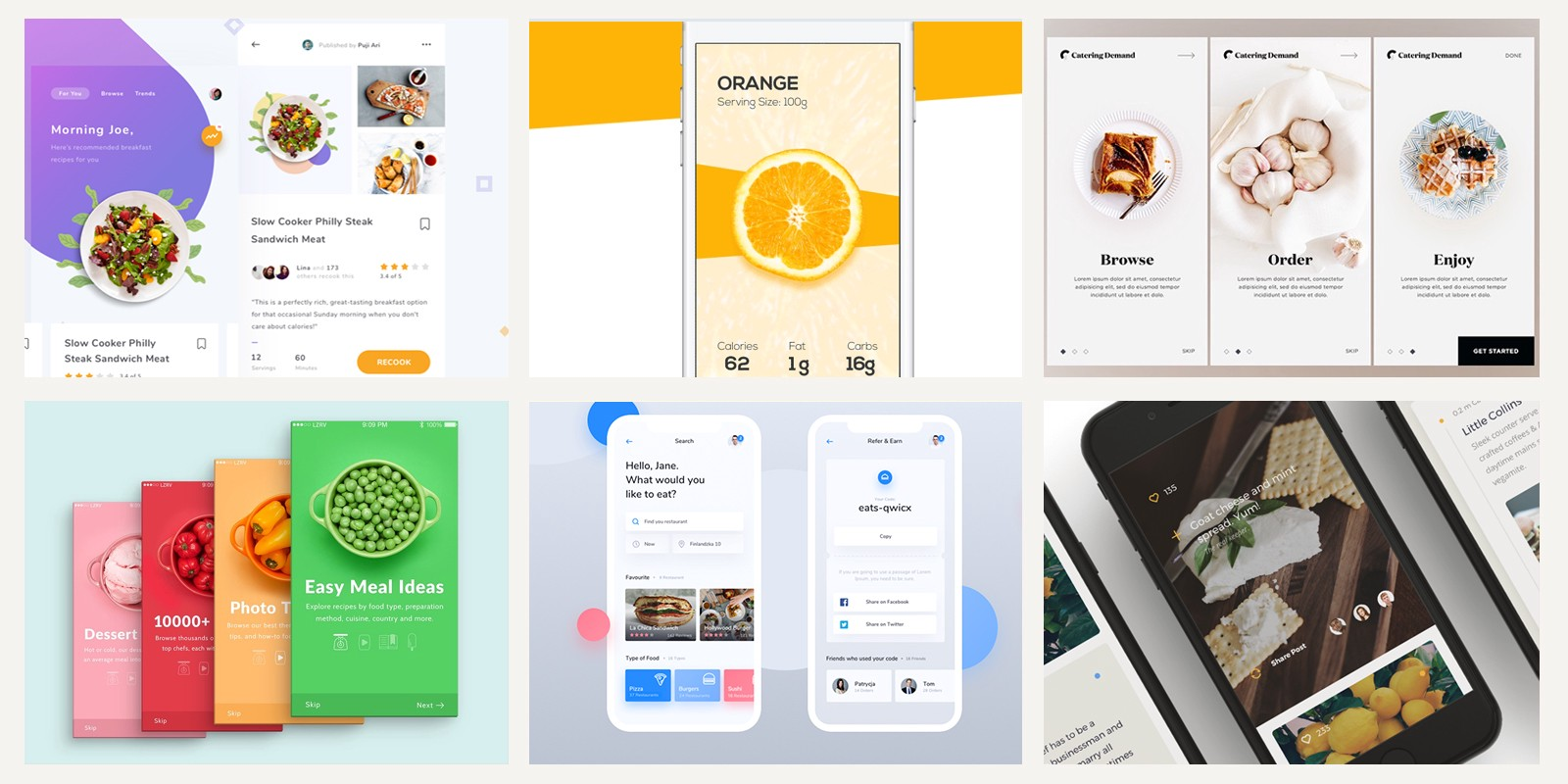 Fresh food mobile app designs for your inspiration