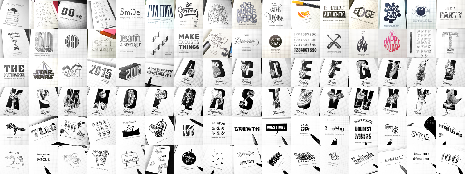 100 days of lettering the 100 day project medium