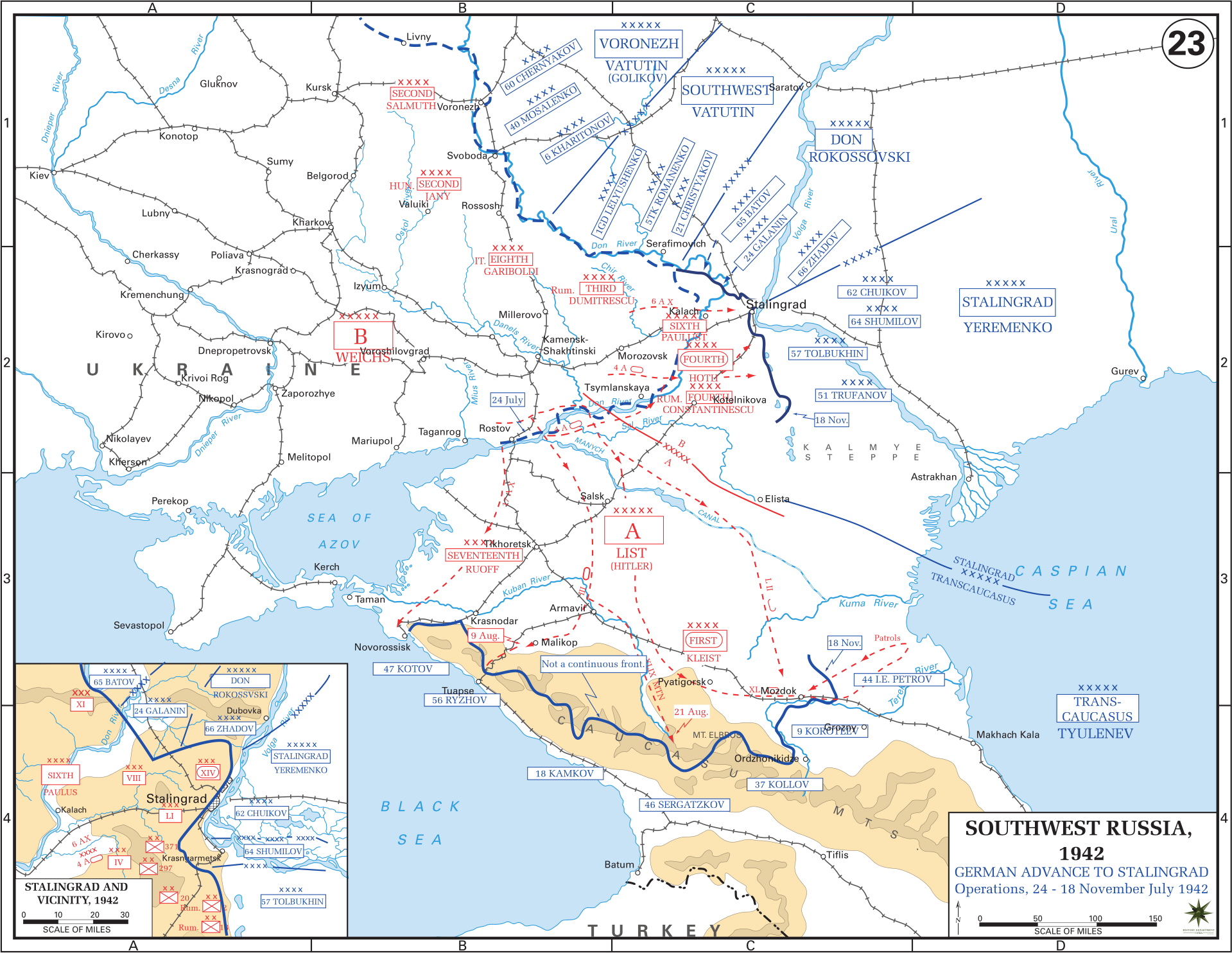 Eastern front maps of world war ii inflab medium german advance to stalingrad 24 july 18 november 1942 gumiabroncs Image collections