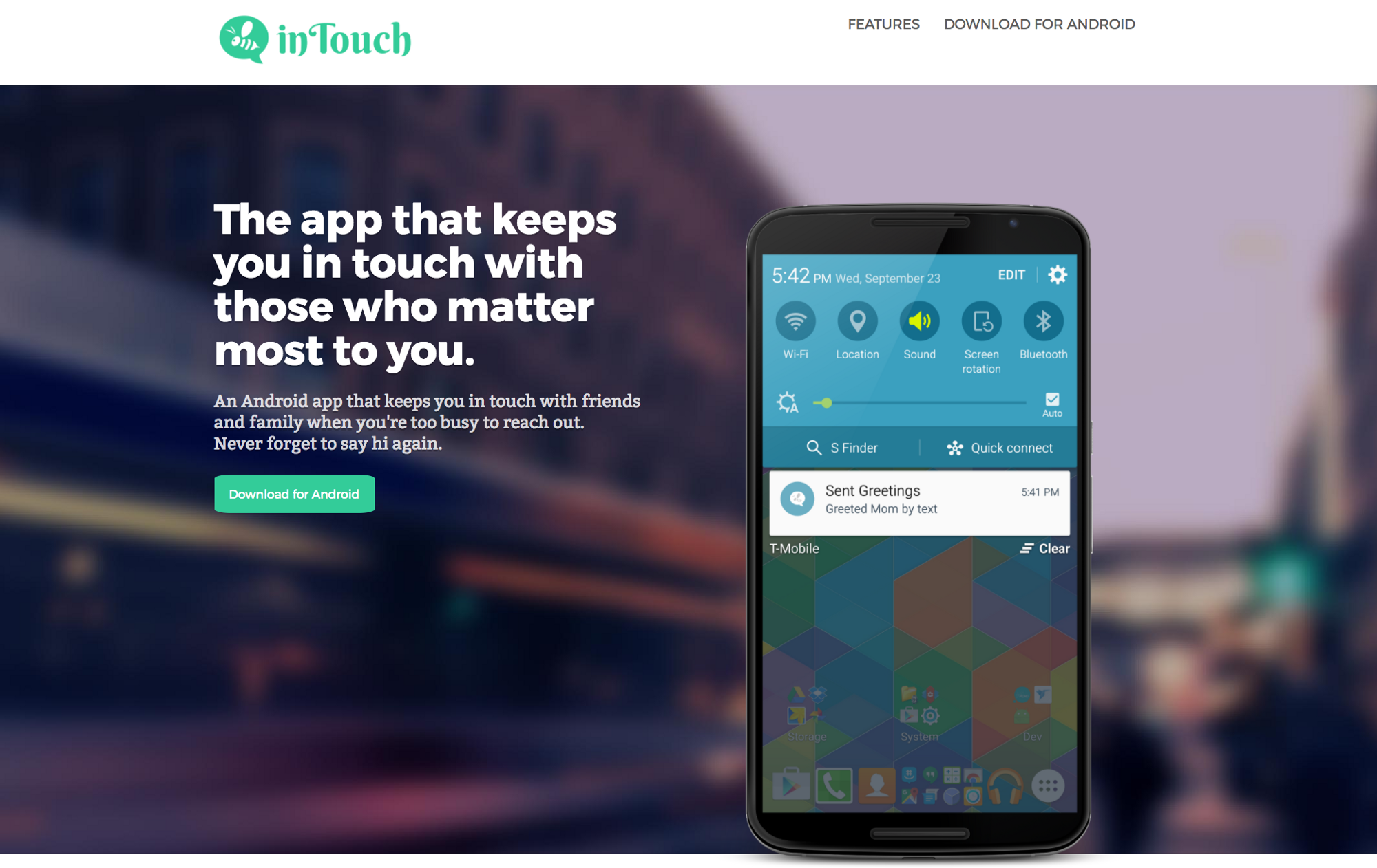 The application for Android In Touch in your smartphone