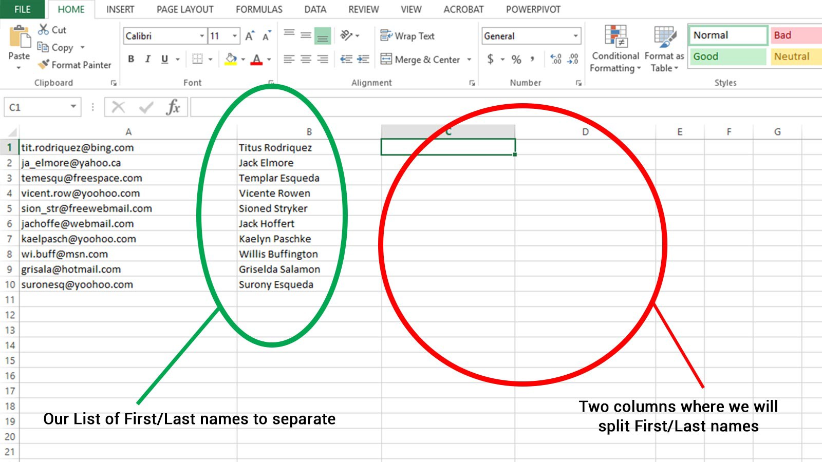 Excel For The Weak Split First And Last Names Into Separate