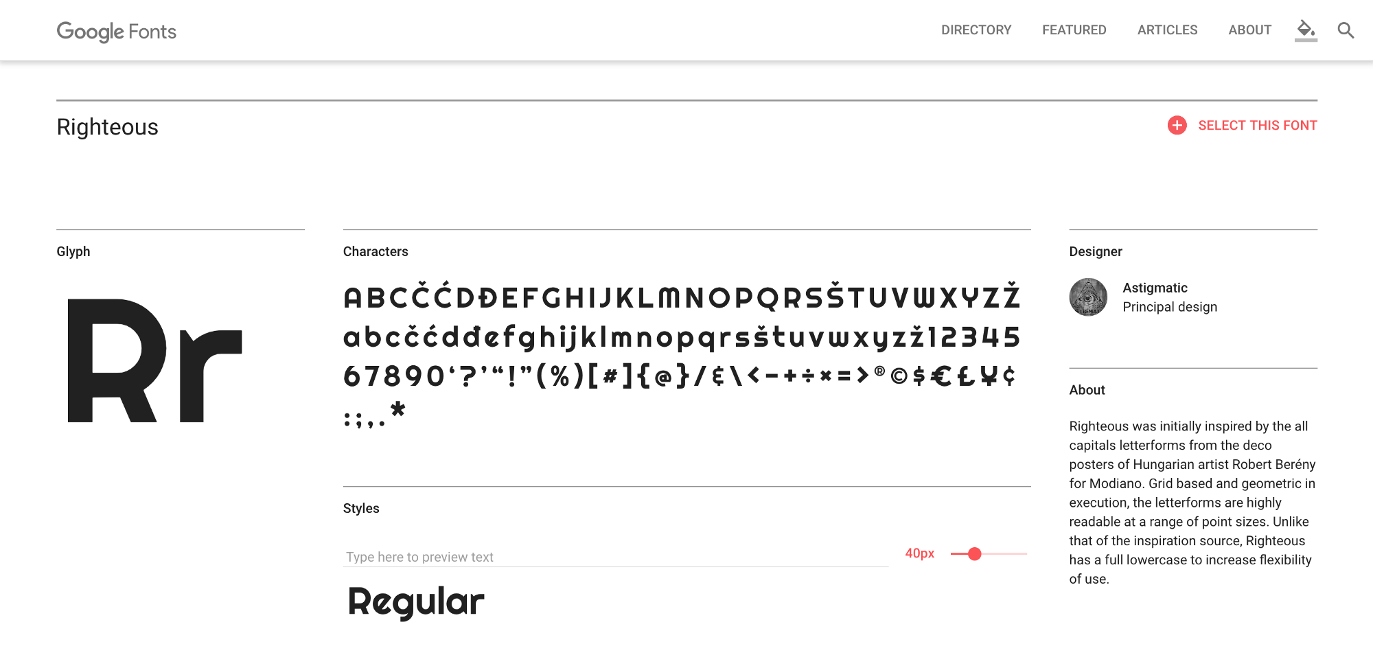Righteous—Google Fonts