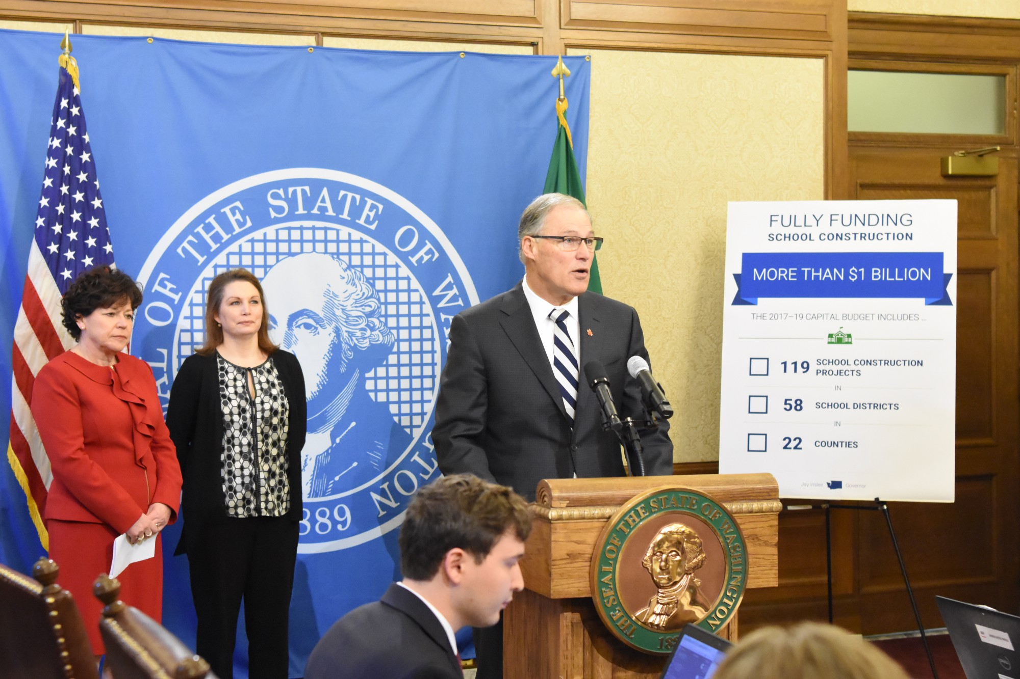 Gov. Jay Inslee announces his supplemental budget proposal Dec. 14 in Olympia. (Governor's Office photo)
