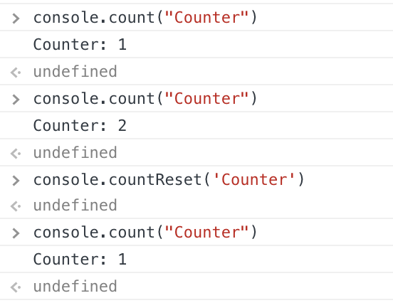 the output of console.count and console.countReset