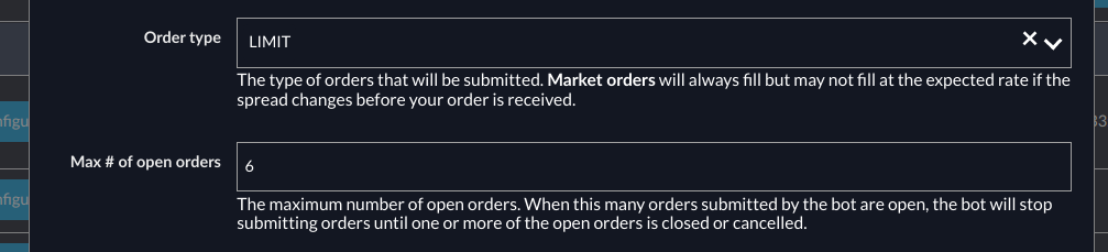 New bot config properties for limit orders