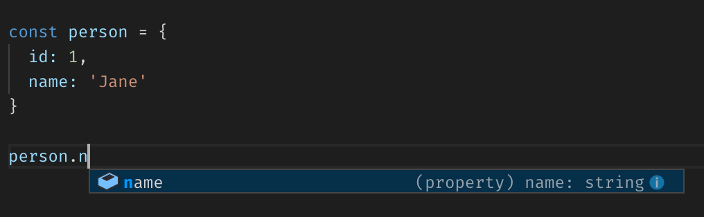 VS Code type inference on object properties