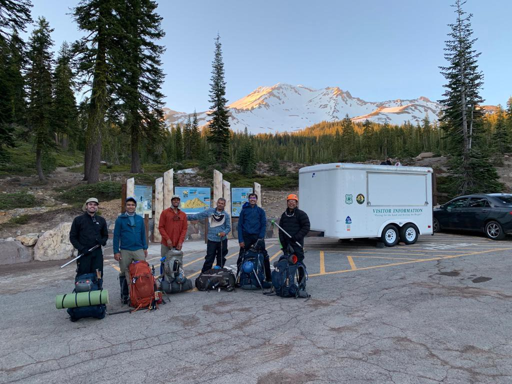 The Crew Back at the trailhead — the journey is never complete without getting lost!