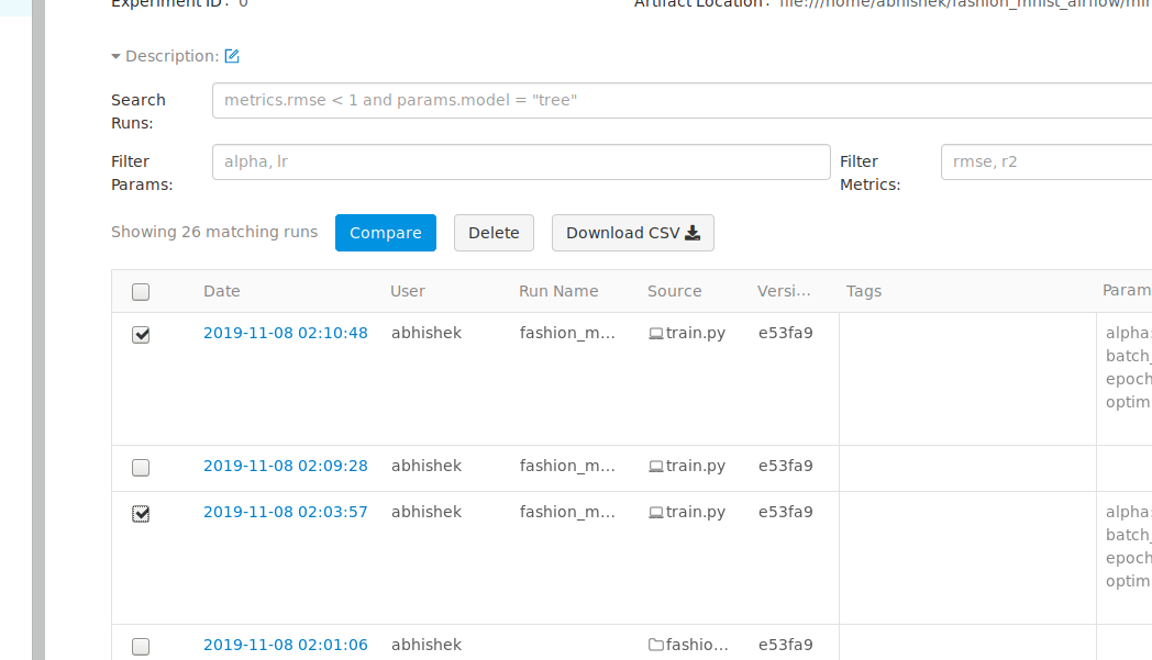 Fig 23: Mlflow dashboard which lists all the mlflow runs sequentially