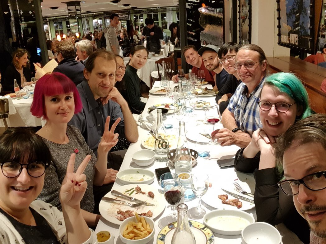 A picture of our Samsung group out to dinner during the week TPAC
