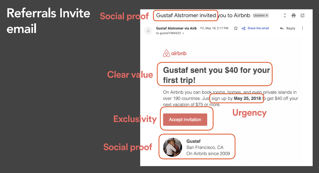 AirBnB's referral email uses all of the above tactics.