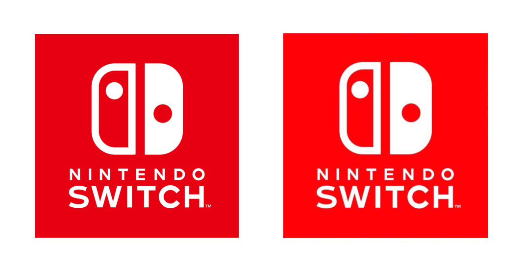 Comparison between the 'corrected' (left) and true centered (right) Switch logos.