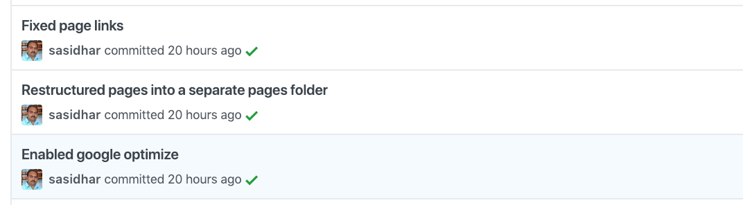 Green Ticks with each commit indicates successful GitHub Page build