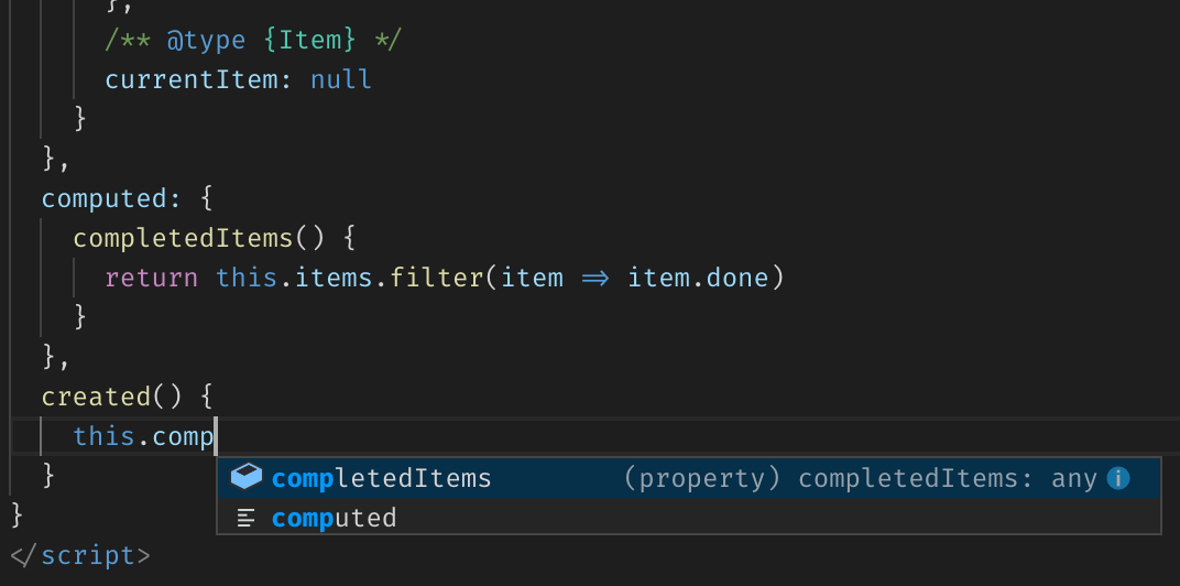 Vue component's computed property in VS Code suggestions