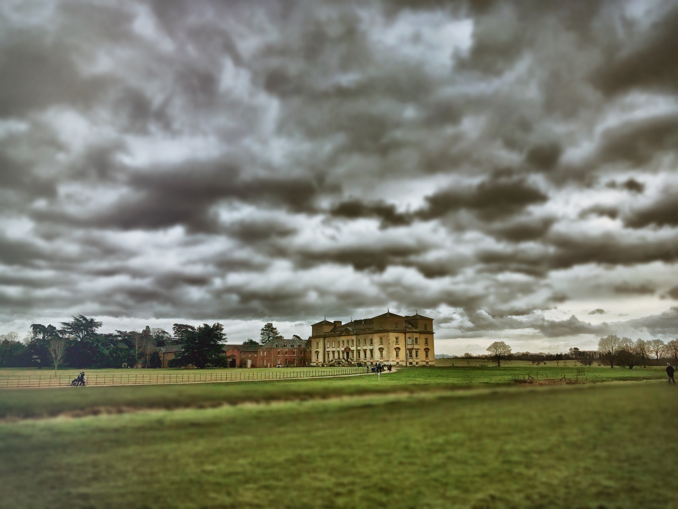 Moody clouds hang over Croome Park mansion house