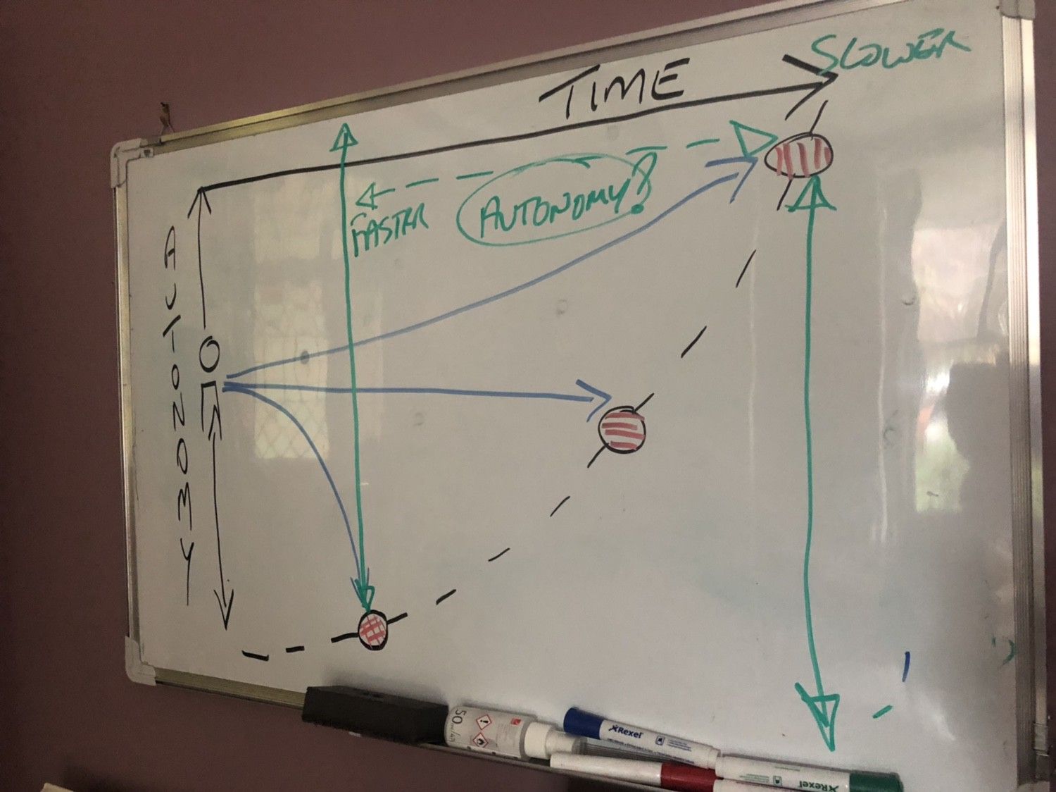 Rough sketch of diagram or graph of how automony and agency play out over time