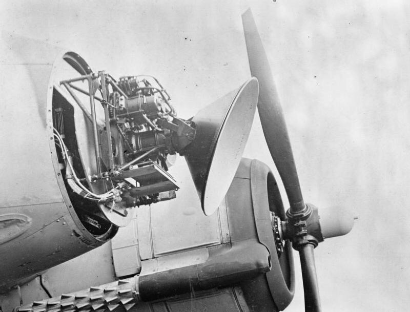 Photo of Mark 8 air radar fitted to front of nightfighter aircraft