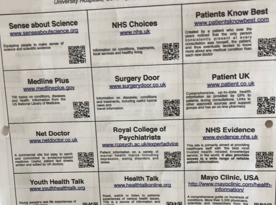 Poster with many links to healthcare website accessed via QR code