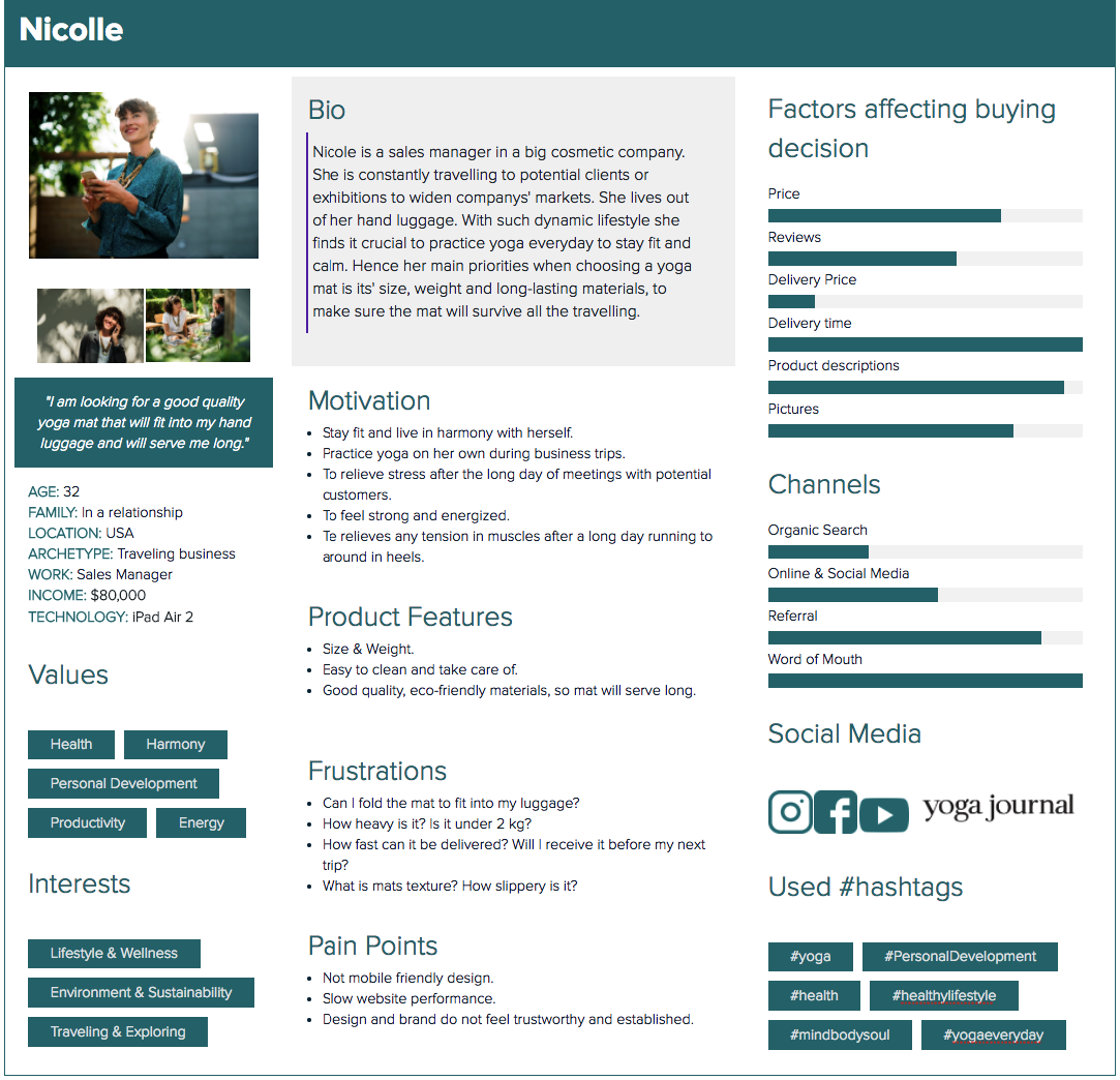 Example of User Persona Conducted by Scandiweb CRO & Digital Analytics Department