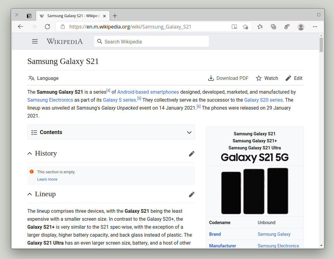 Wikipedia's mobile site, Microsoft Edge on Linux