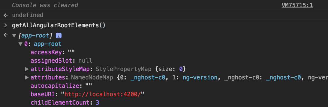 The output of `getAllAngularRootElements()` in a default Angular CLI app running in development mode.