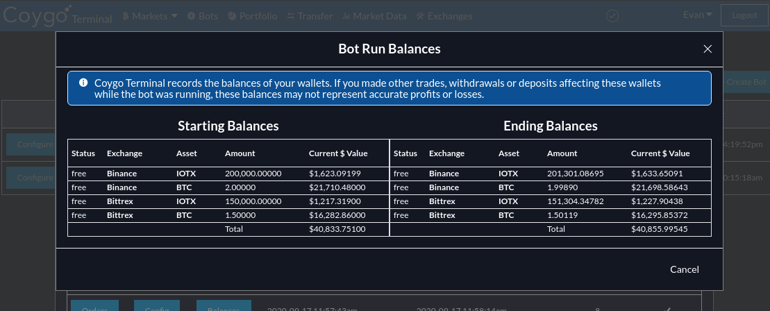 Trading bot balances are now recorded over time