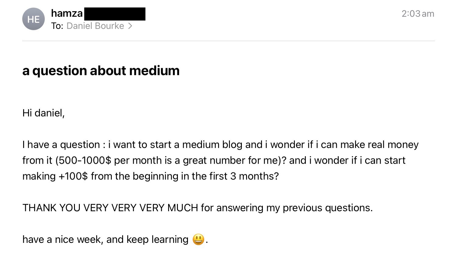 email asking if someone can start a medium blog and get paid for it