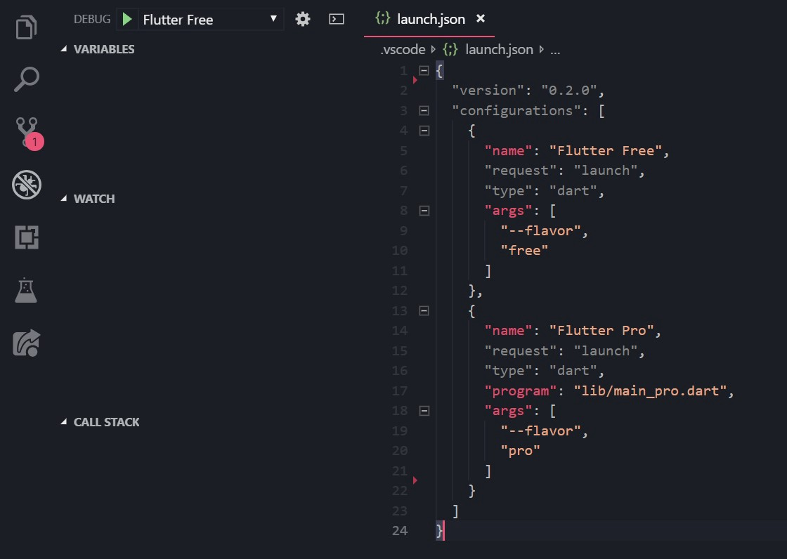Flutter profiles in VSCode (Product flavors)