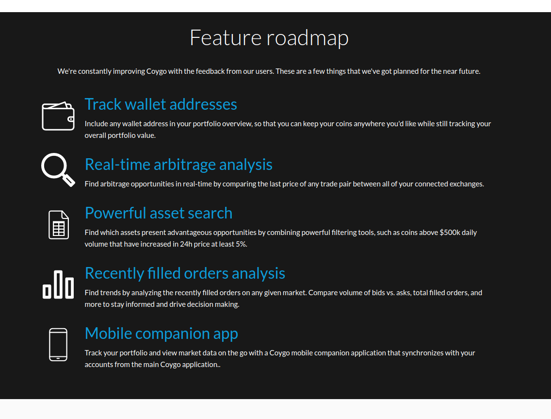 Feature roadmap from our website