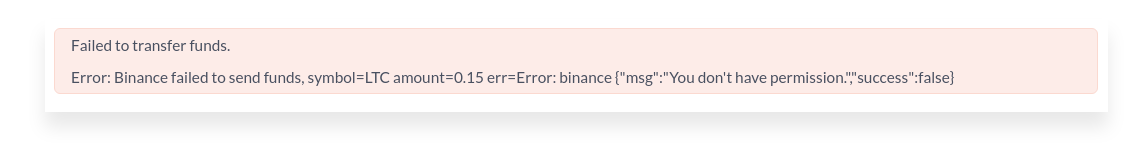 Error message given by the exchange when a transfer fails
