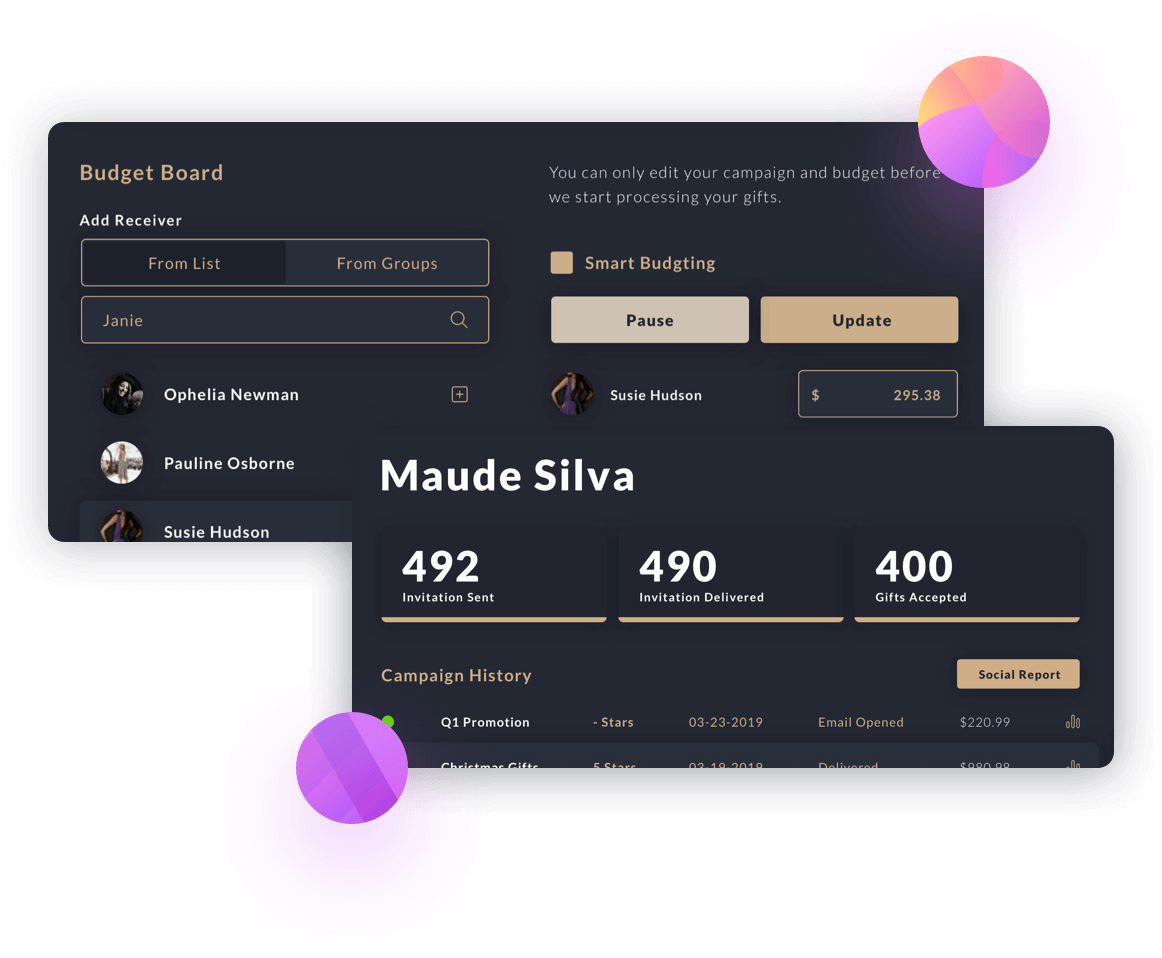 All-in-one dashboard allows you to track your gifts