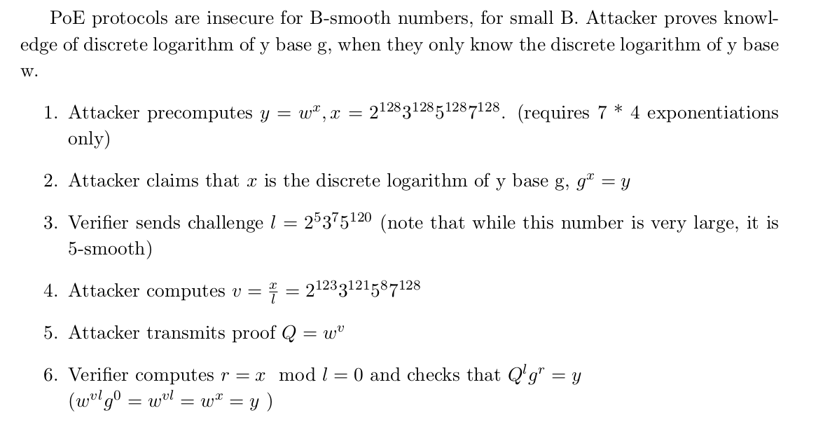 A 5-smooth challenge is weak and enables an attacker to fool a Verifier about knowledge of a discrete logarithm