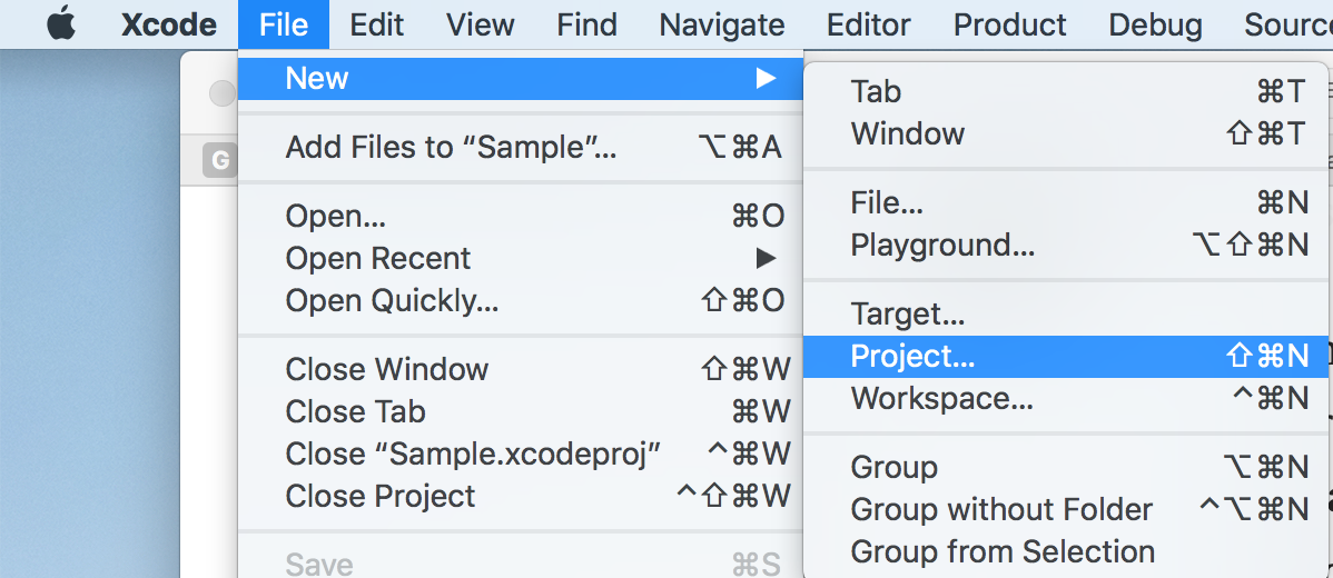 Xcode -> File -> New -> Project