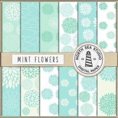 Mint Floral Digital Paper