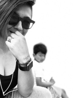 Mother and son black and white image