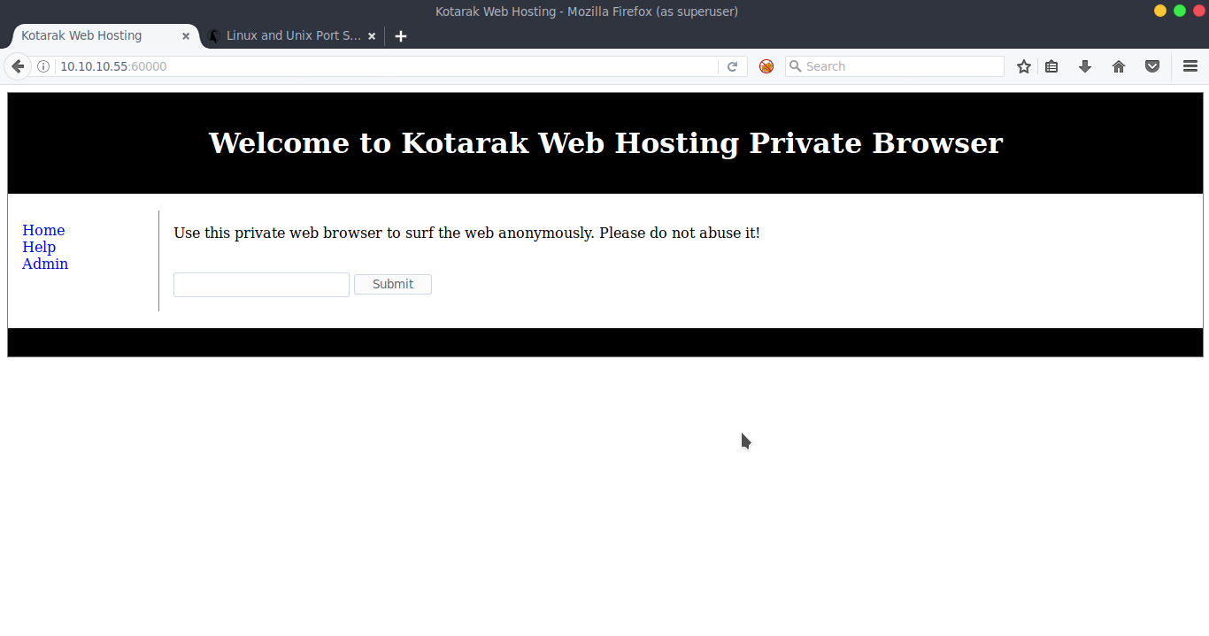 """4edf51d49eb5 If we visit port 60000 we can see that were brought to a webpage that  appears to be a web-server that is used as a """"private web-browser""""."""
