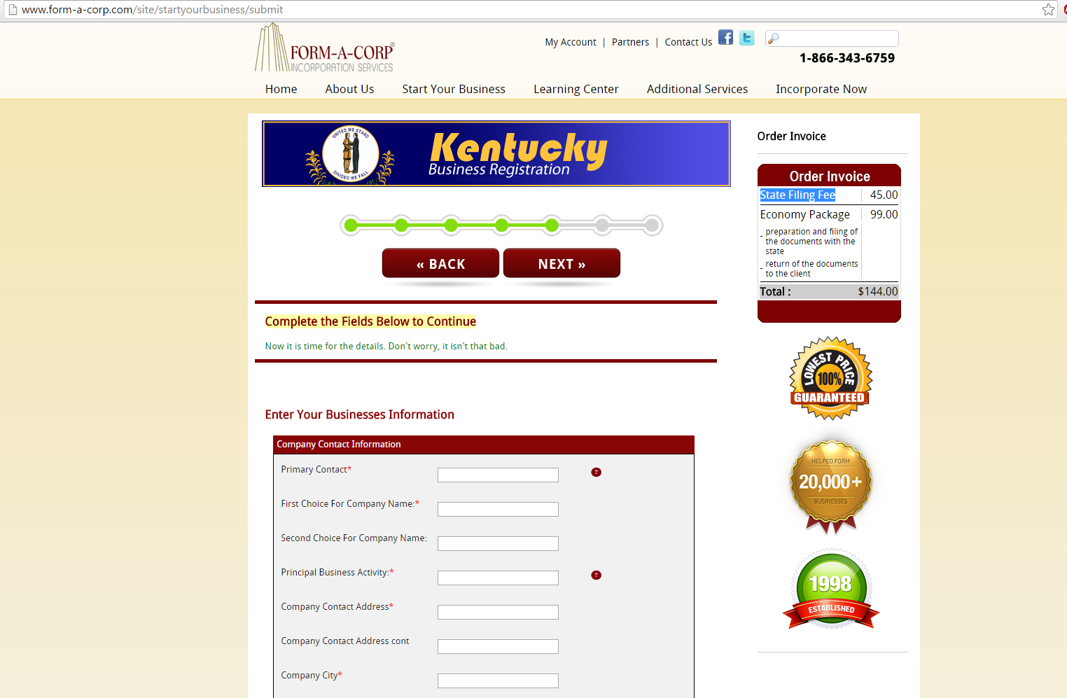 Form-a-corp-com KY State Fee 45 Dollars (a $5 increase)