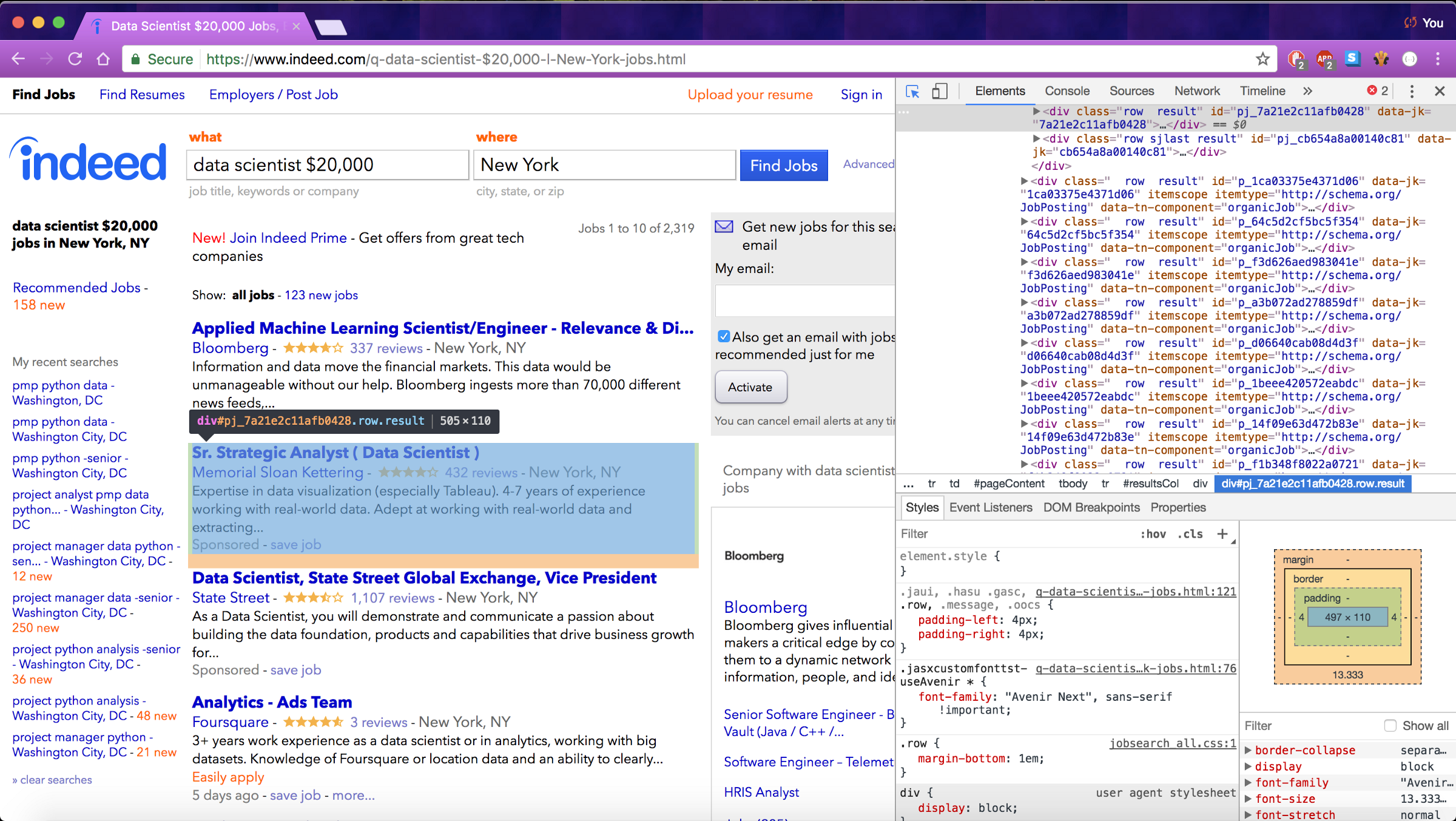 web scraping job postings from indeed \u2013 michael salmon \u2013 mediumin the screen show above, i\u0027ve cursored over one of the job postings to show how the entire job\u0027s contents is held within a \u003cdiv\u003e tag, with attributes