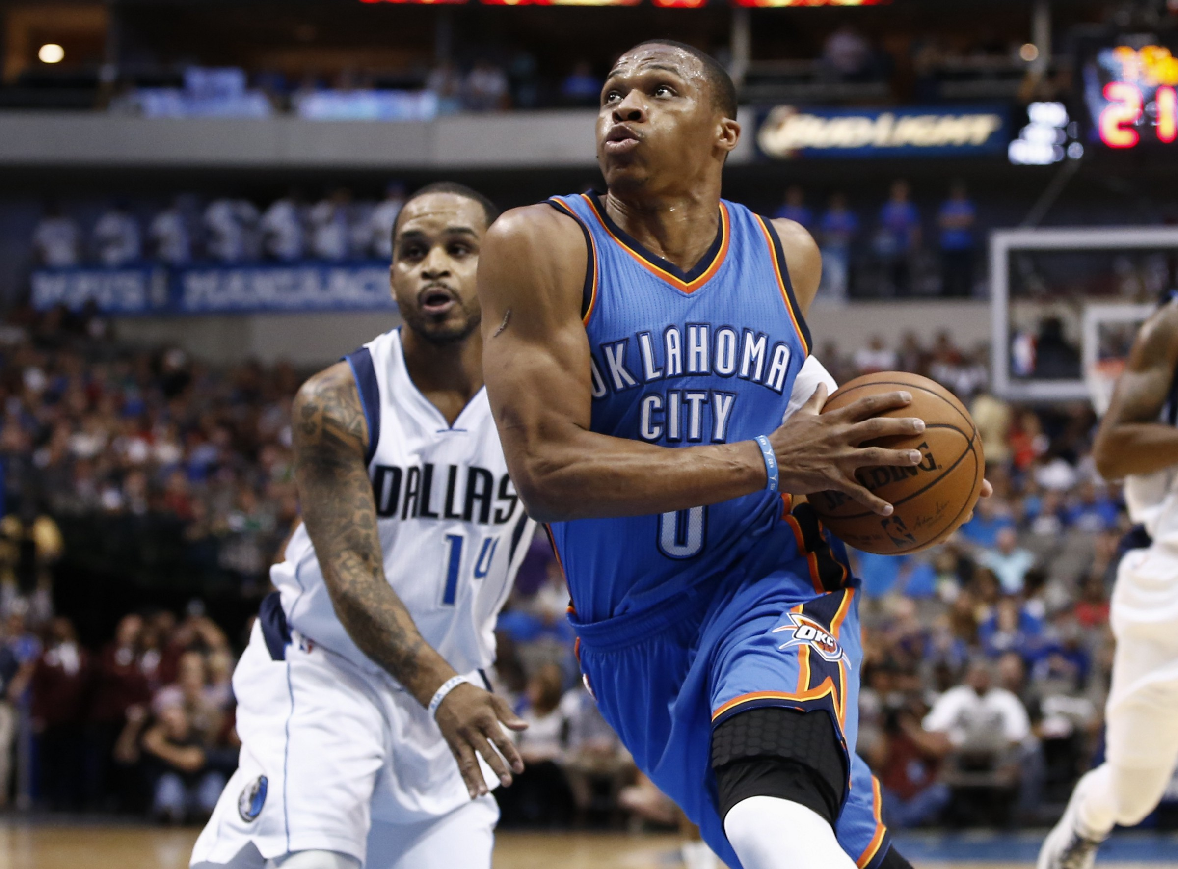 257974ee5e5998 Russell Westbrook is never shy with the ball