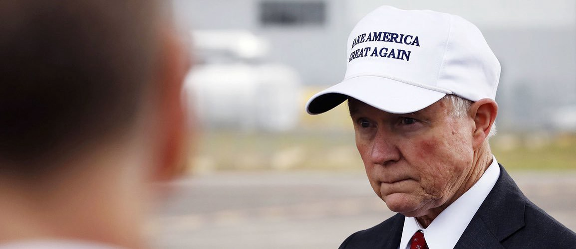 94ad25de Jeff Sessions wearing a MAKE AMERICA GREAT AGAIN hat (Reuters)