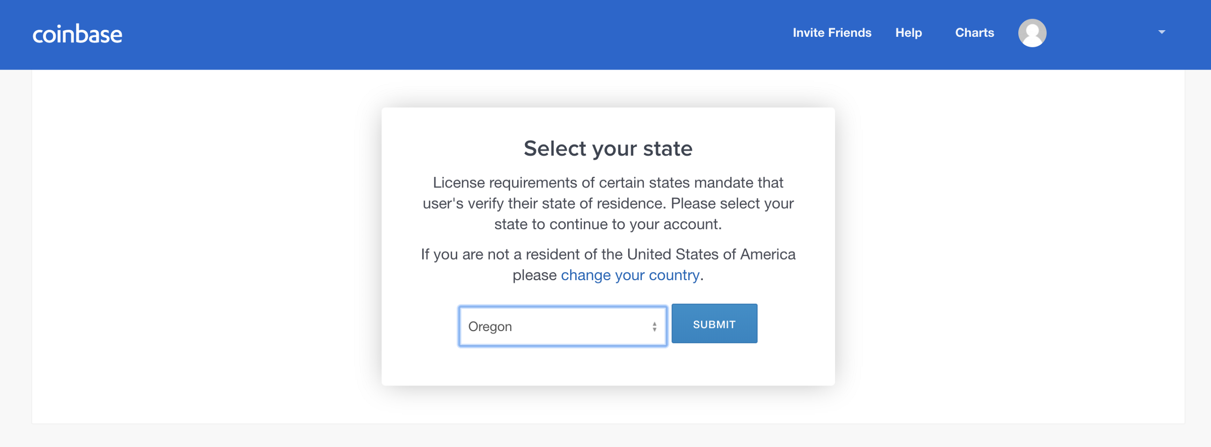 coinbase exchange is not yet available in your state