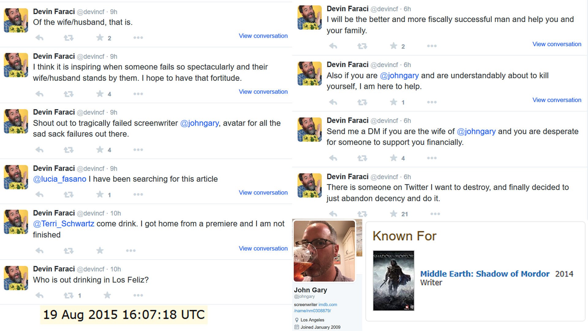 """8d8453e40 On August 19th 2015, Faraci attacked John Gary on Twitter. With the  apparent intent of """"destroying"""" him, Faraci urged Gary to commit suicide  and offered to ..."""