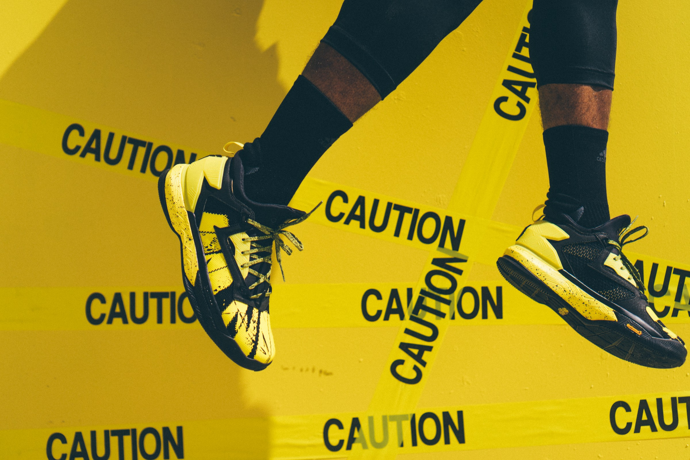 """huge selection of 8c323 6ac76 ADIDAS AND DAMIAN LILLARD WARN """"DO NOT CROSS"""" WITH YELLOW TAPE EDITION"""
