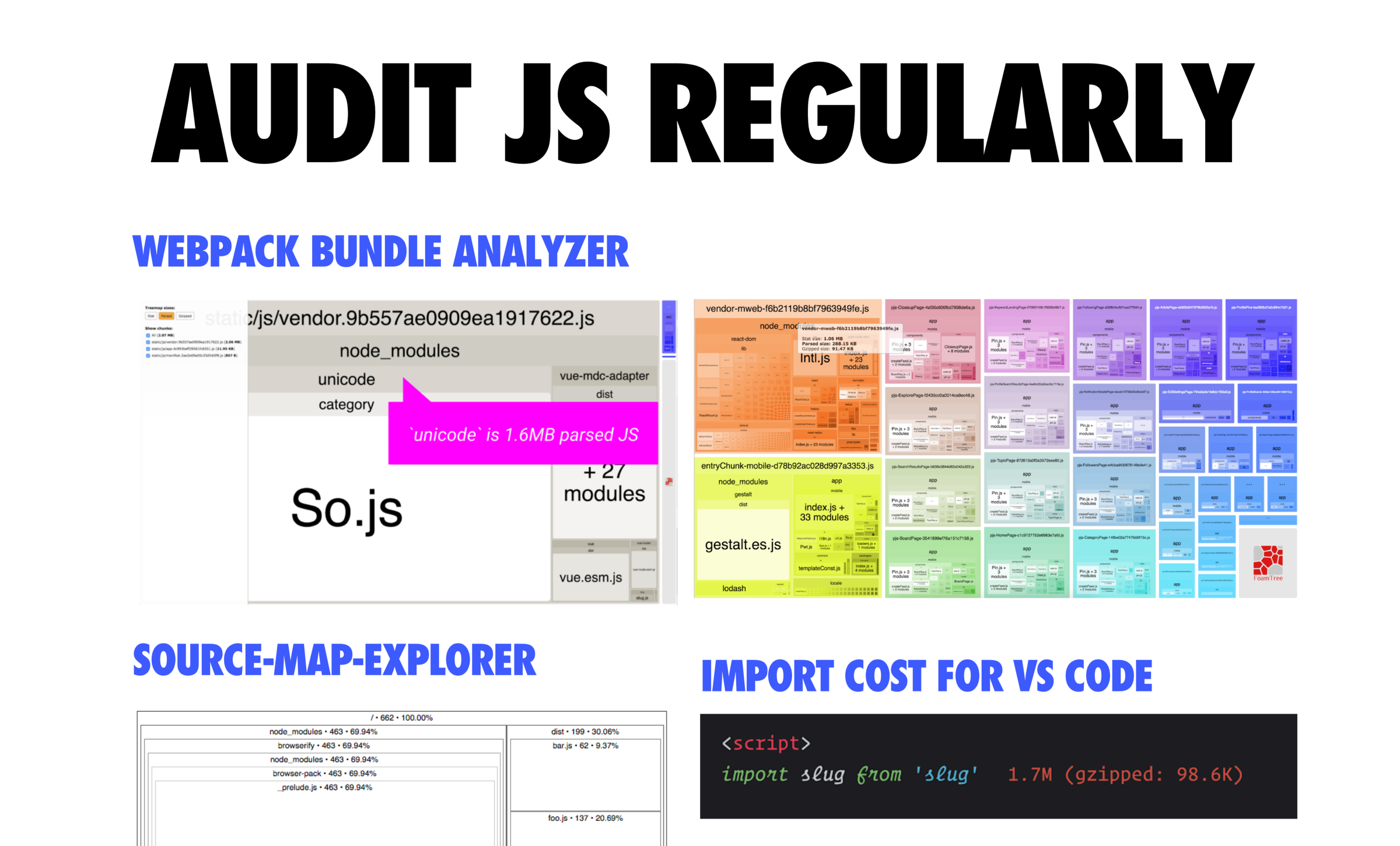 Tools Like Webpack Bundle Analyzer Are Great For Analyzing Your Built Javascript Bundles And Import Cost For Visual Code Is Excellent For Visualizing