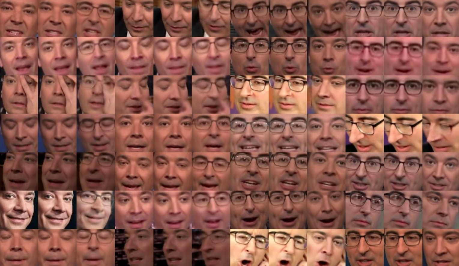 2f620e1e7a07be The progress of a neural network that is learning how to generate Jimmy  Fallon and John Oliver s faces.